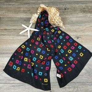 Vintage Echo 80s long silk scarf black geometric
